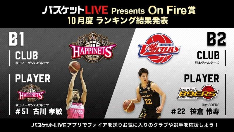 バスケットLIVE Presents On Fire賞」10月